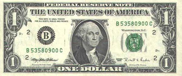 Купюра 1 доллар США, лицо